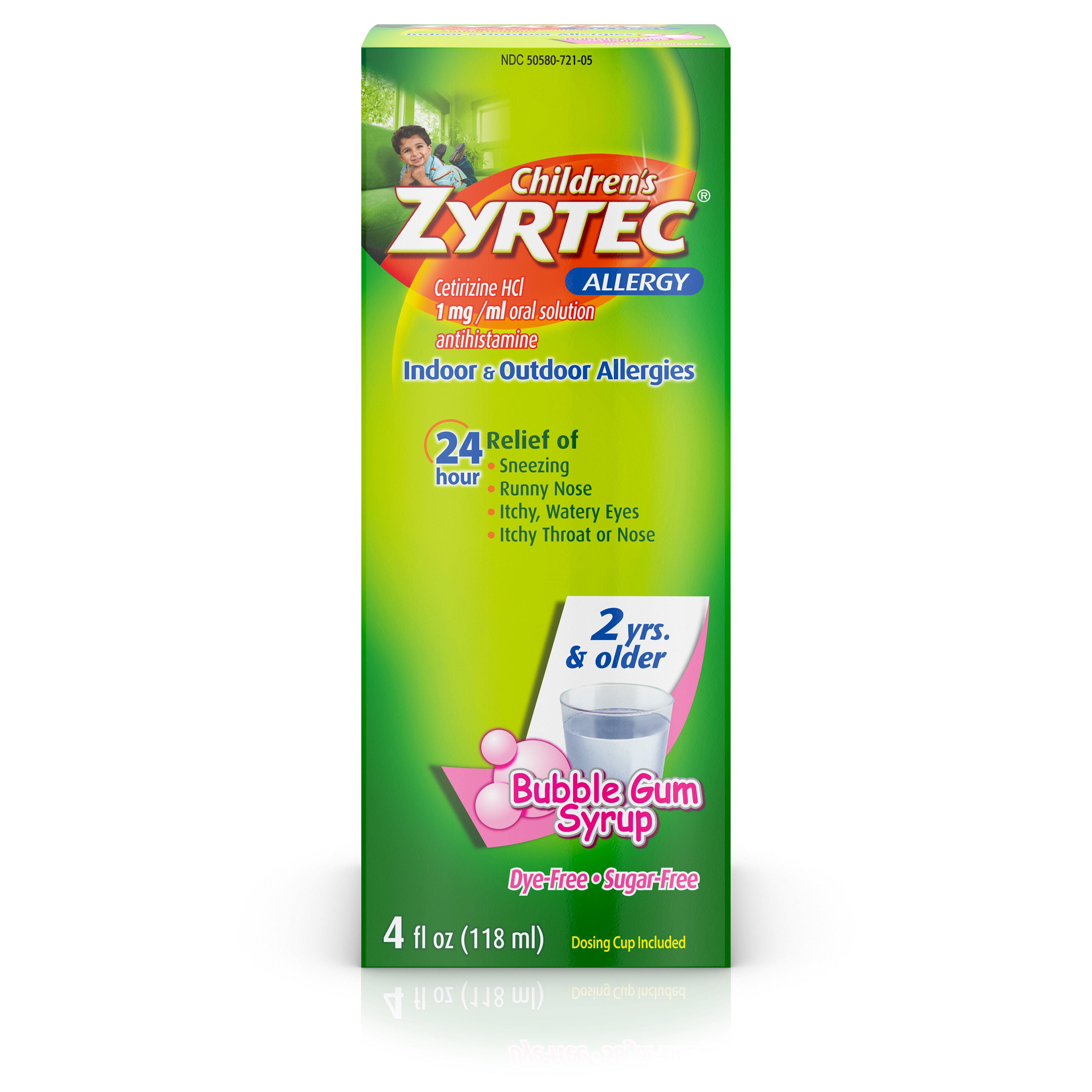 Children's Zyrtec Allergy Syrup, Dye-Free, Sugar-Free Bubble Gum, 4 Oz