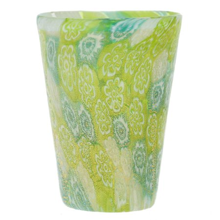 GlassOfVenice Murano Glass Millefiori Shot Glass - Green