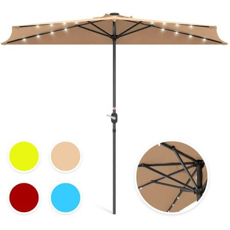 Best Choice Products 8.5ft Solar LED Half Patio Umbrella w/ Crank -