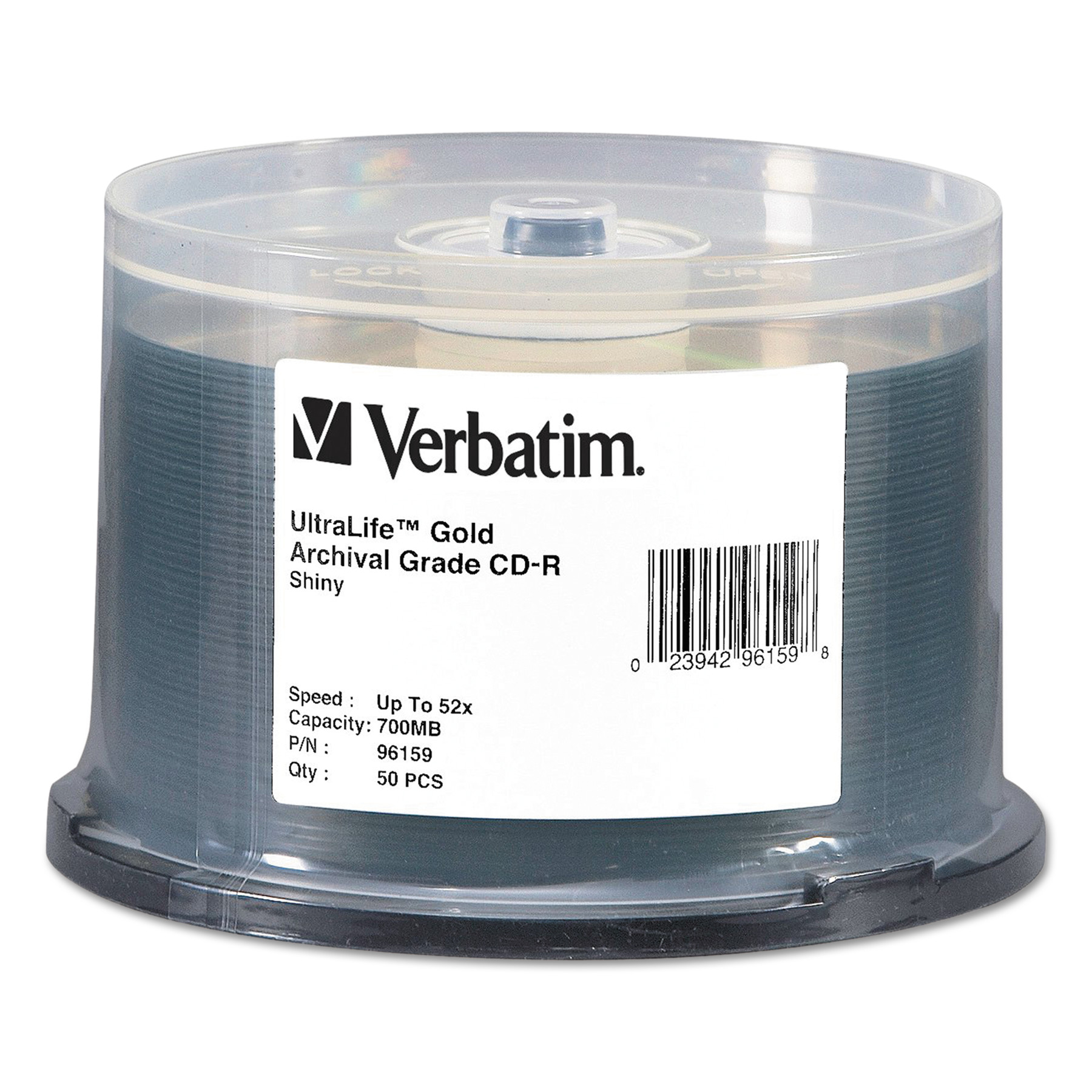 Verbatim UltraLife Gold Archival Grade CD-R w/Branded Surface 700MB 52X, 50/PK Spindle -VER96159