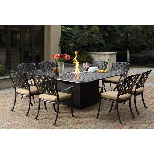 Fleur De Lis Living Campton 9 Piece Dining Set with Firepit and Cushion