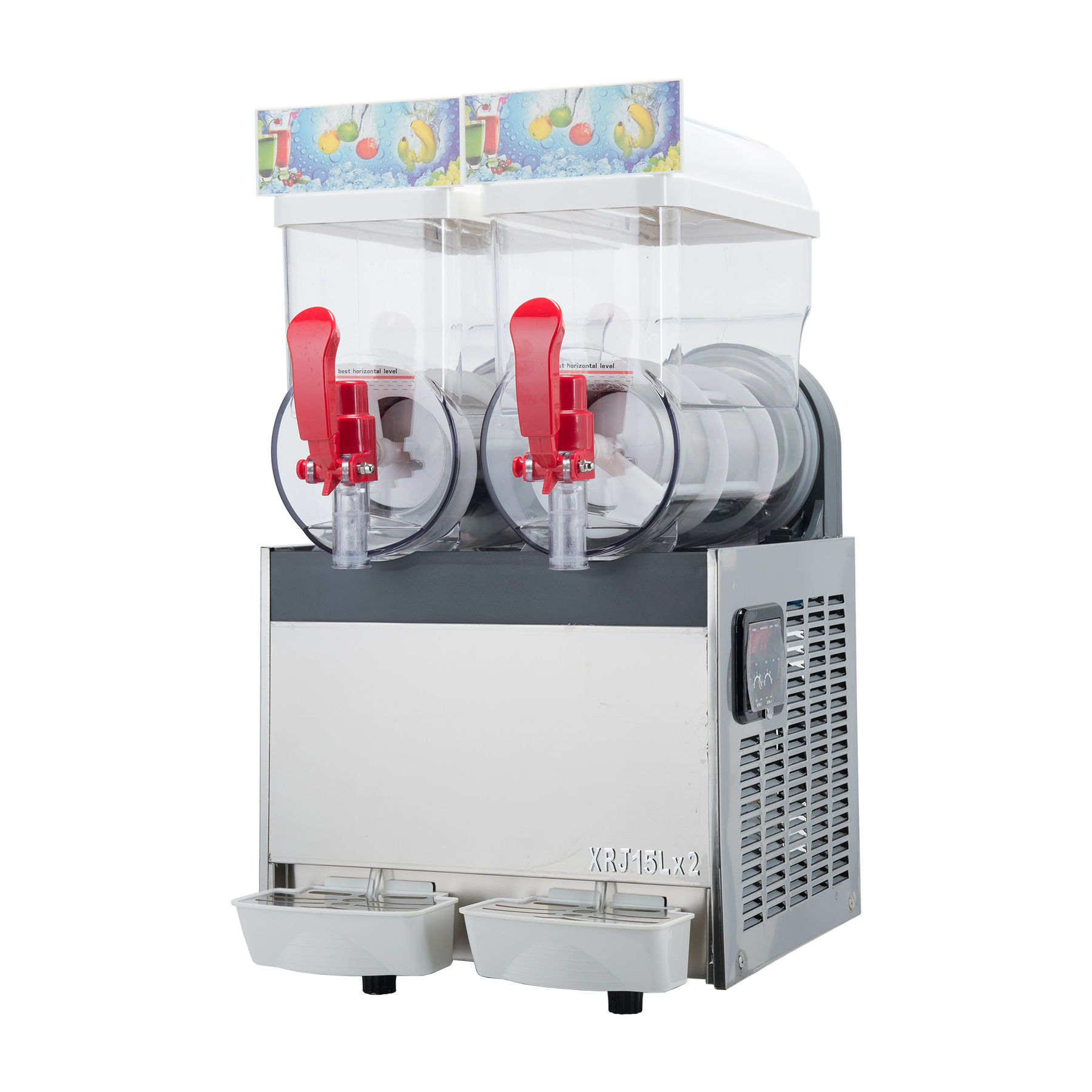2 x 15L Slushy Machine Slush Making Machine Tanks Frozen Drink Machine Smoothie Maker 600W Suitable for Commercial Use