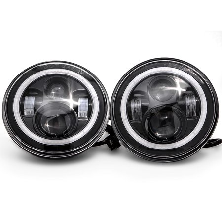 """2x LED 7"""" Headlights w/ Bluetooth RGB HALO Ring For 1997-2017 Jeep Wrangler JK for 2011-2014 Dodge Charger - image 7 de 8"""