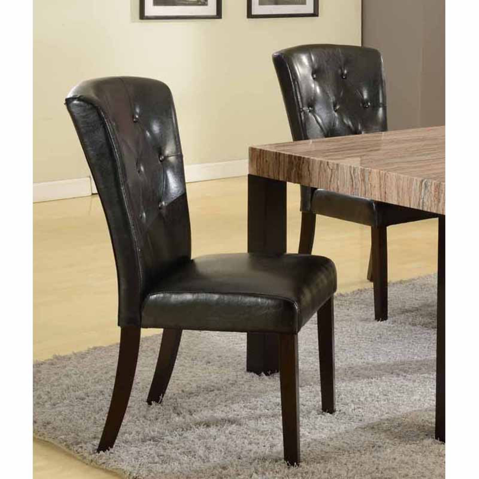 Roundhill Furniture Big and Thick Button Back Dining Parsons Chair - Set of 2