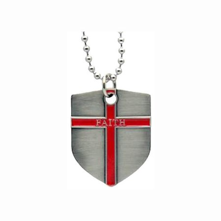 Faith Shield Cross Dog Tag Necklace w Bible Quote   Christian Jewelry  #9325