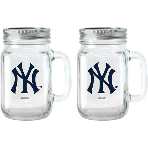 MLB 16 oz New York Yankees Glass Jar with Lid and Handle, 2pk