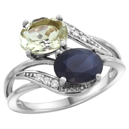 14K White Gold Diamond Natural Green Amethyst & Australian Sapphire 2-stone Ring Oval 8x6mm, size 5