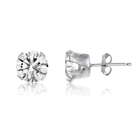 4 Prong Snap-Set Post Ear 6mm Sterling Silver (Champagne Glass Earrings)