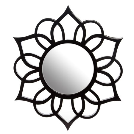 Black Round Ornate Accent Mirror 18