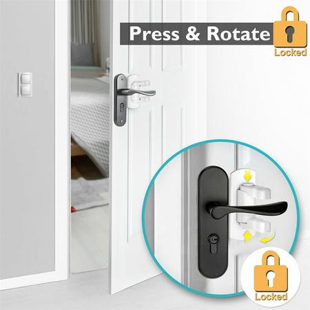 Baby Safety Door Handle Locks, 2 Pack Adhesive Baby Proof Door Lever Lock No Drill Quick Install Safety Locks for Door