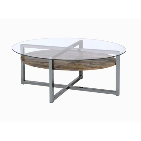 Acme Janette Glass Coffee Table In Weather Oak And Black Nickel