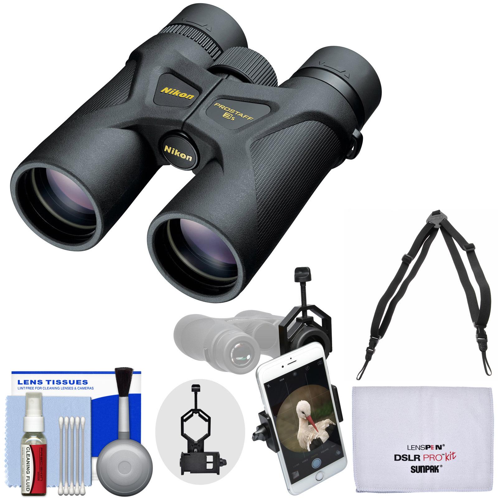Nikon Prostaff 3S 8x42 Waterproof / Fogproof Binoculars with Case + Harness + Smartphone Adapter + Cleaning Kit