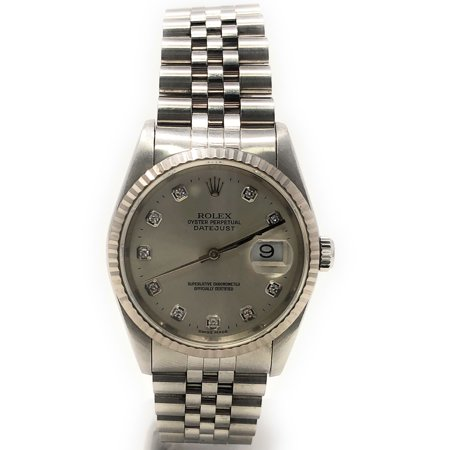 Rolex Datejust 16234 Silver Diamond dial and an 18kt White Gold Fluted Bezel (Certified Pre-Owned)