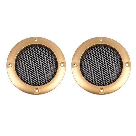 """2pcs 2"""" Gold Tone Round Car Speaker Cover Steel Mesh Sub Woofer Subwoofer Grill"""