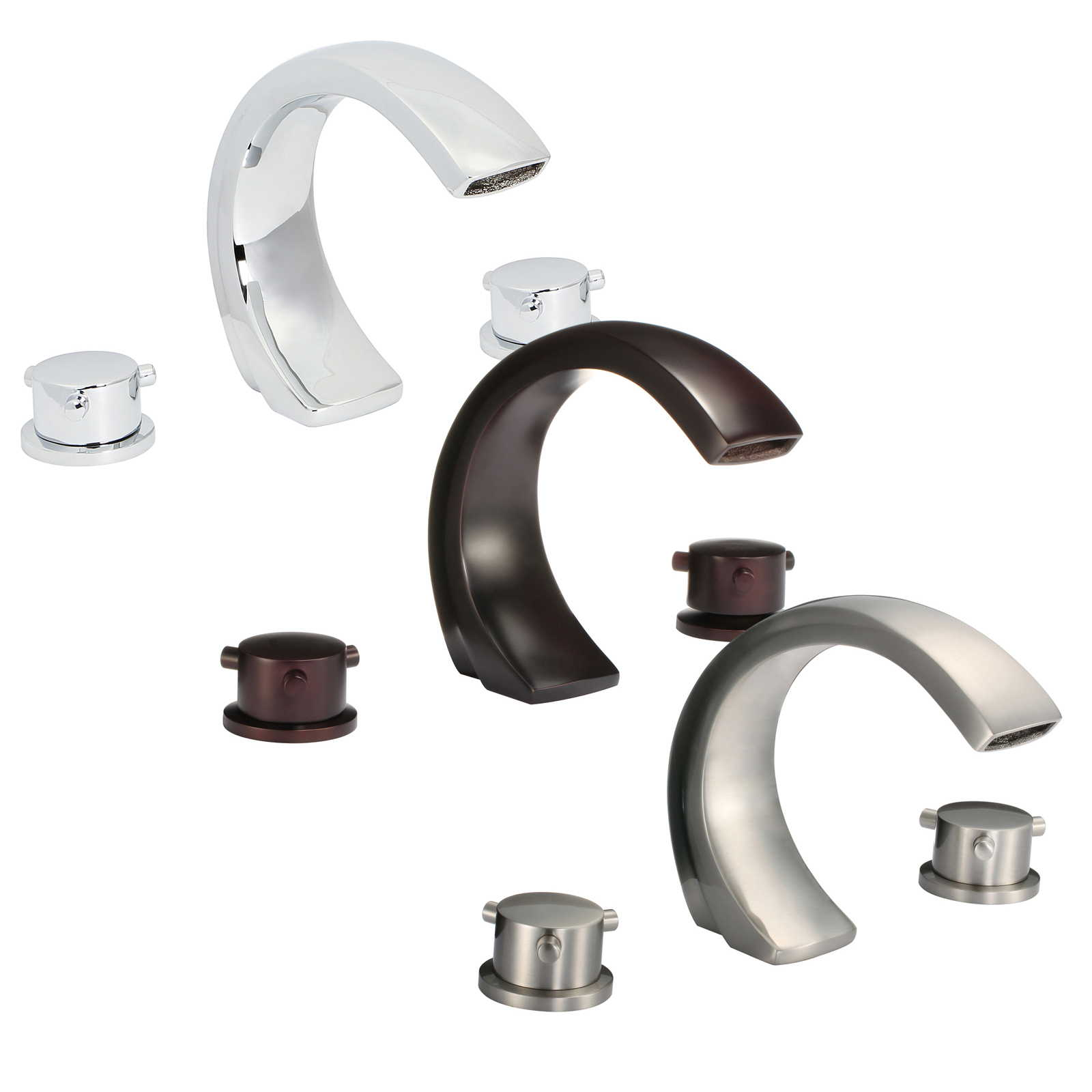 FREUER Curva Collection: Modern Spread Bathroom Sink Faucet - Multiple Finishes Available