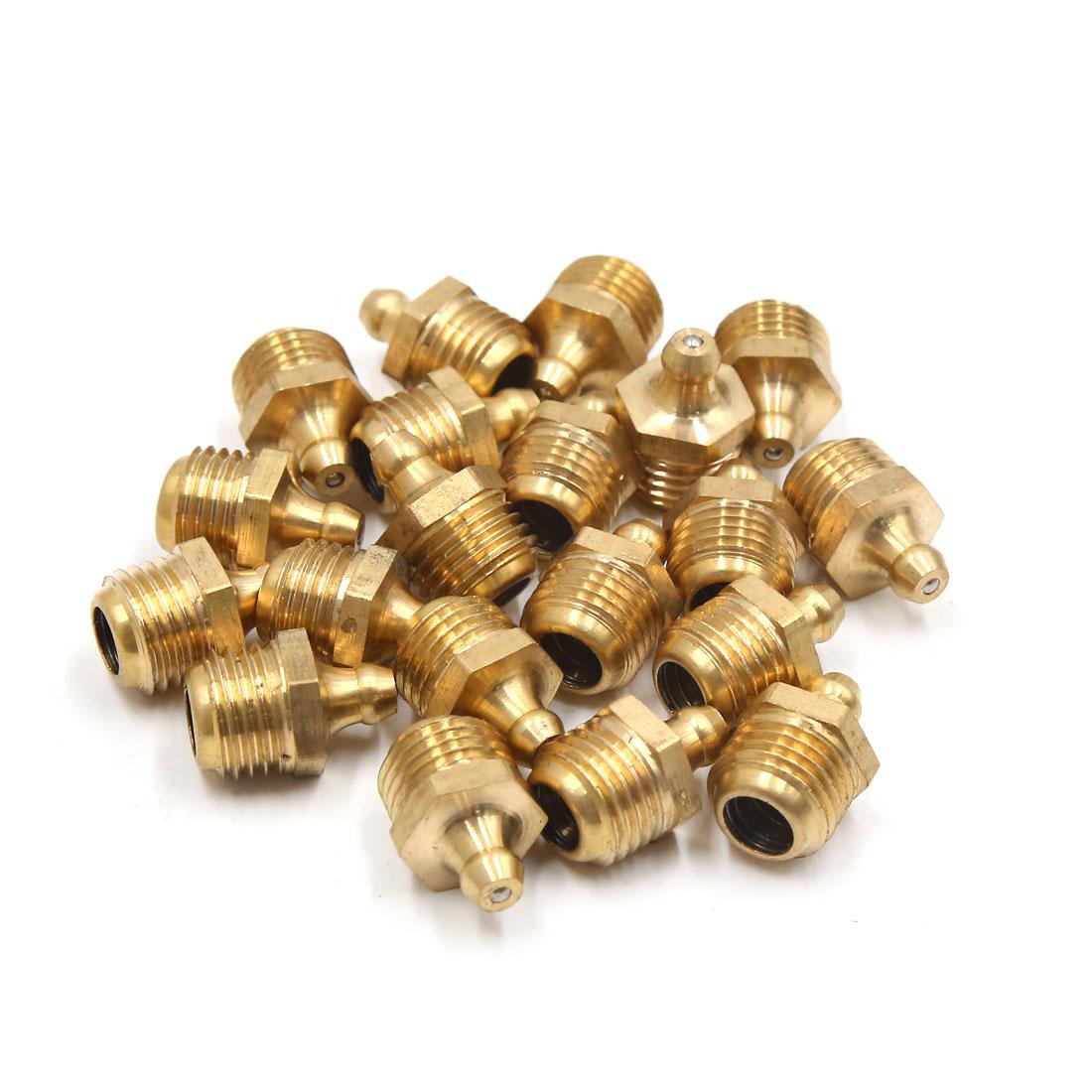 20Pcs M14 x 1.5 Thread Brass Straight Car Grease Zerk Nipple Fitting