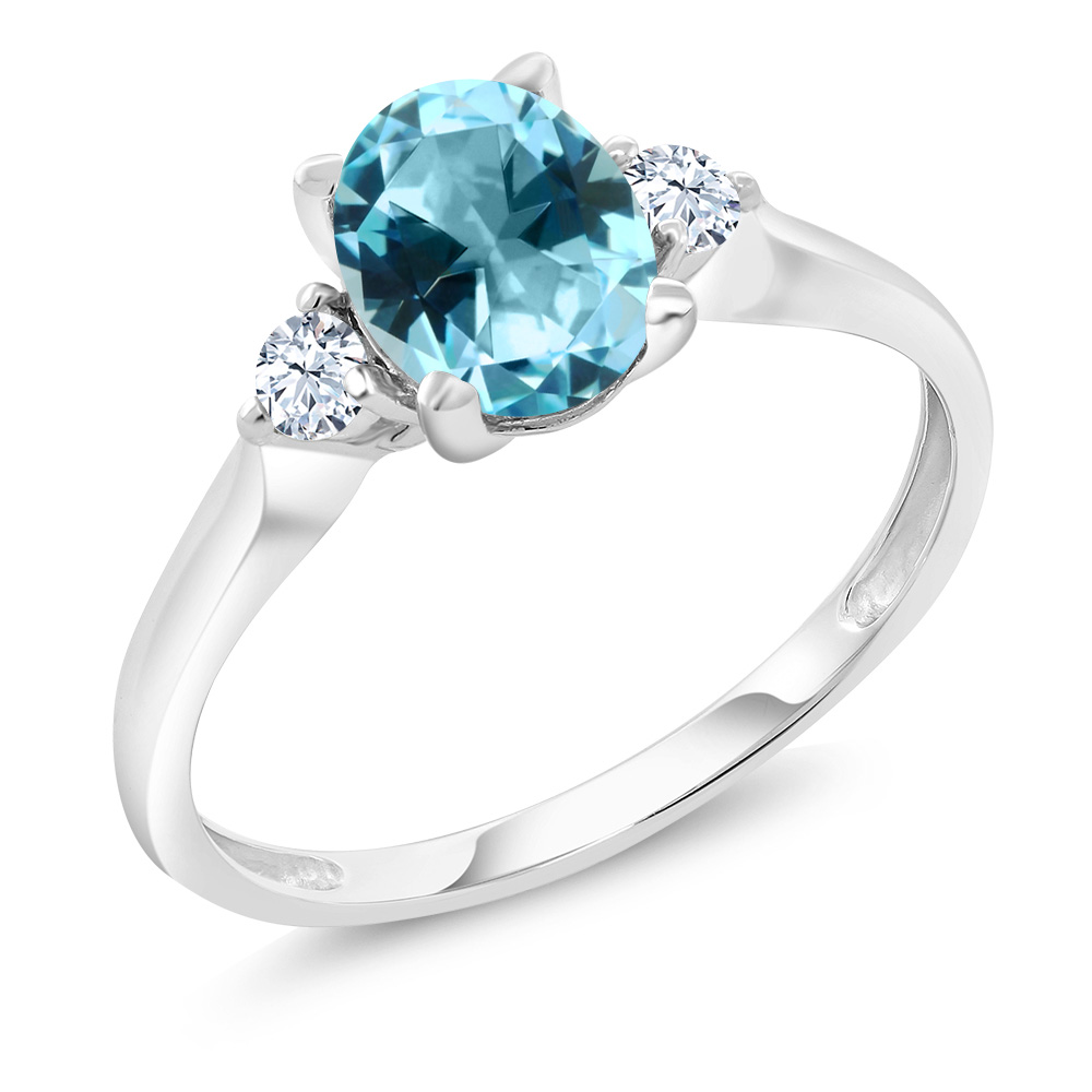 10K White Gold Ring Created Sapphire Set with Ice Blue Topaz from Swarvoski by