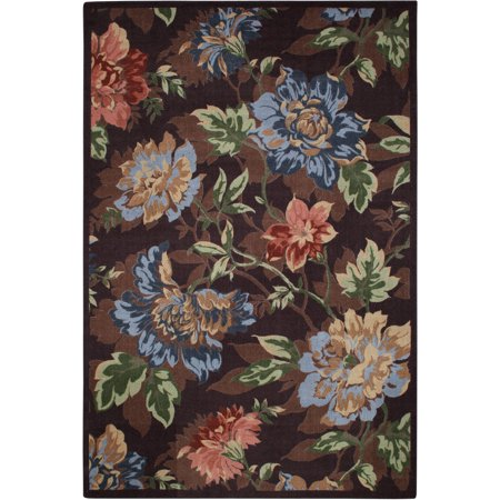 Mainstays Floral Printed Nylon Area Rug Brown 7 6 Quot X 10