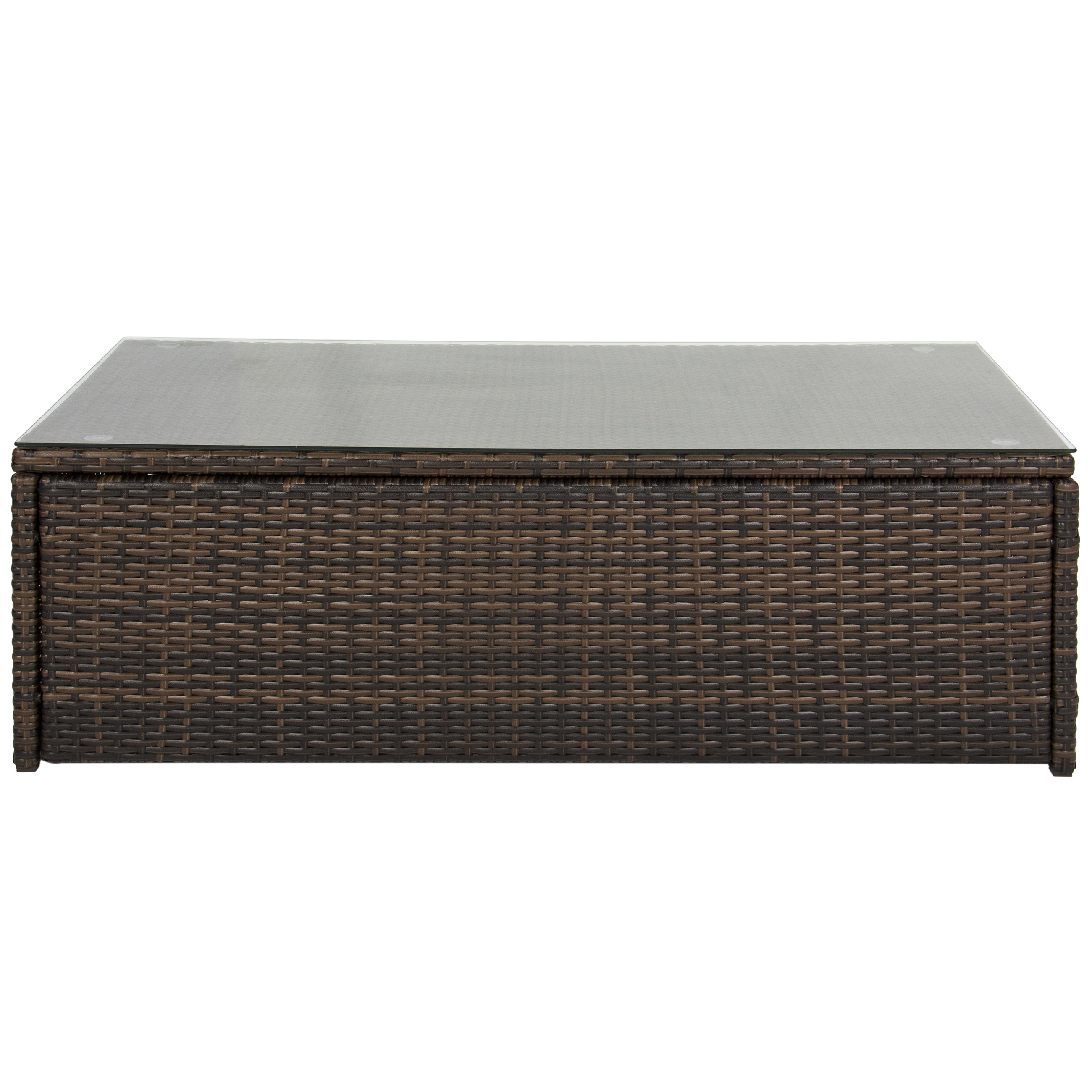 Best Choice Products Wicker Coffee Table W/ Tempered Glass Top   Brown