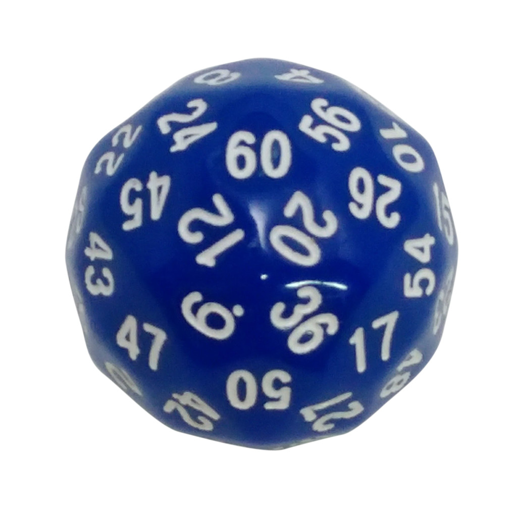 60 Sided Polyhedral Dice (D60)- 36mm - Solid Blue Color- (1 each) -