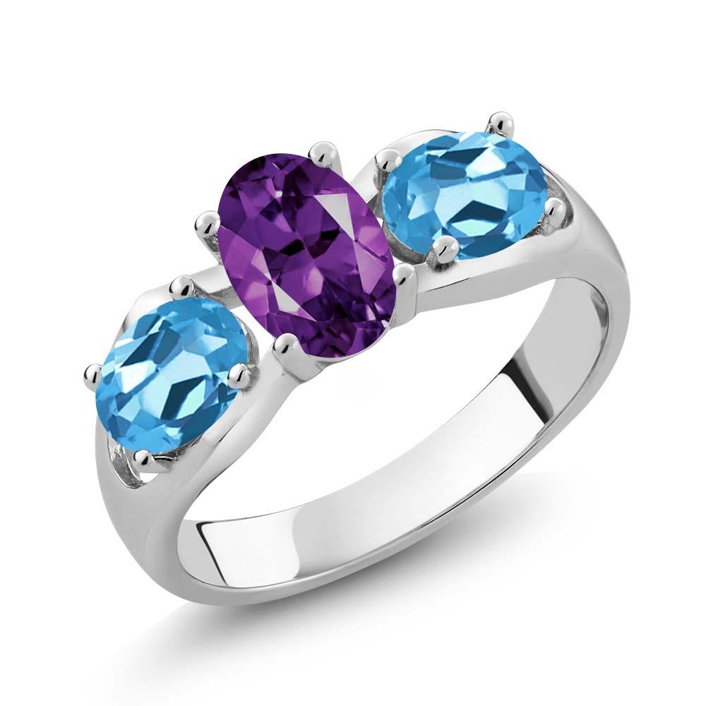 1.75 Ct Oval Purple Amethyst Swiss Blue Topaz 14K White Gold Ring
