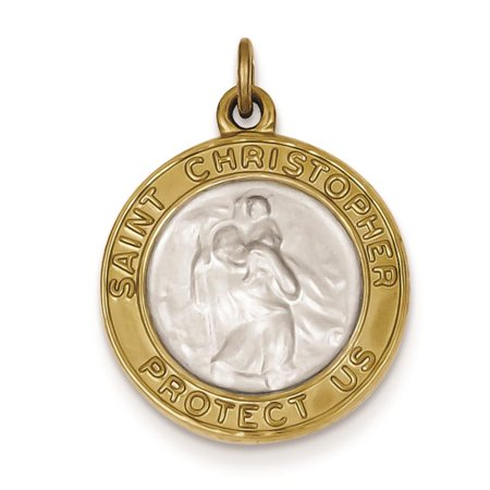 925 Sterling Silver   Gold Plated Saint Christopher Medal Charm Pendant