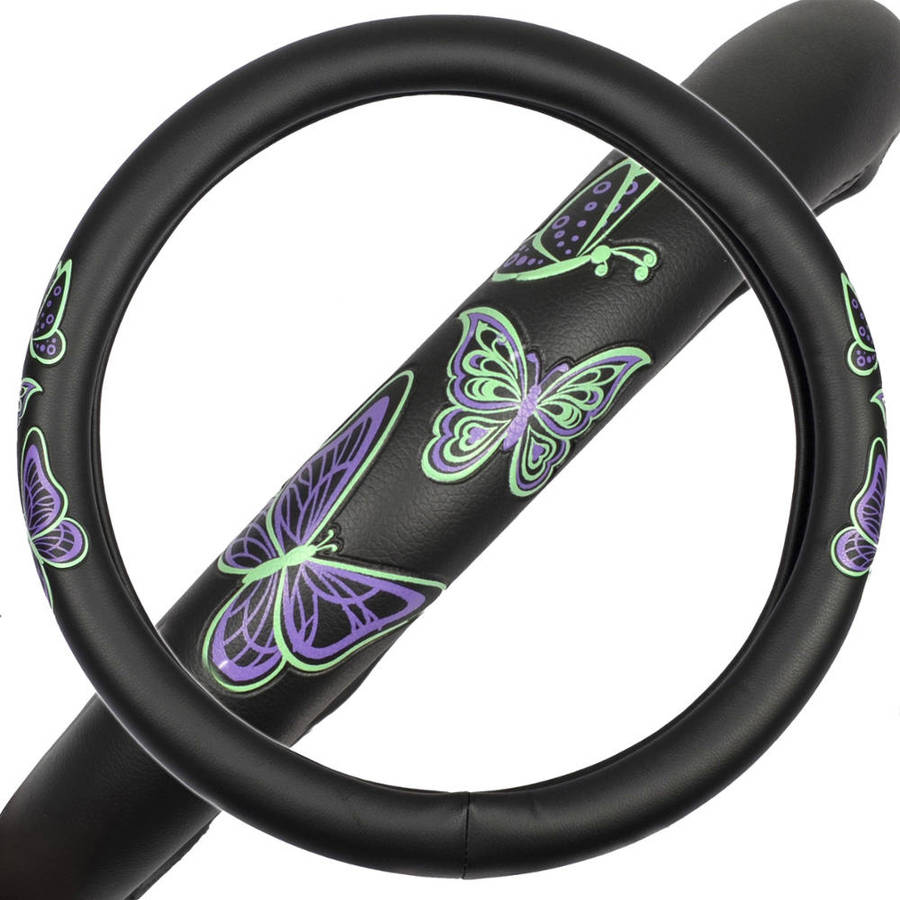 GripGrab Comfort Grip, Purple and Green Butterflies on Black Synthetic Leather Steering Wheel Cover, 15""