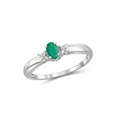 JewelersClub 1/4 CT Emerald & White Dia Accent Sterling Silver Ring Diva Sterling Silver Ring