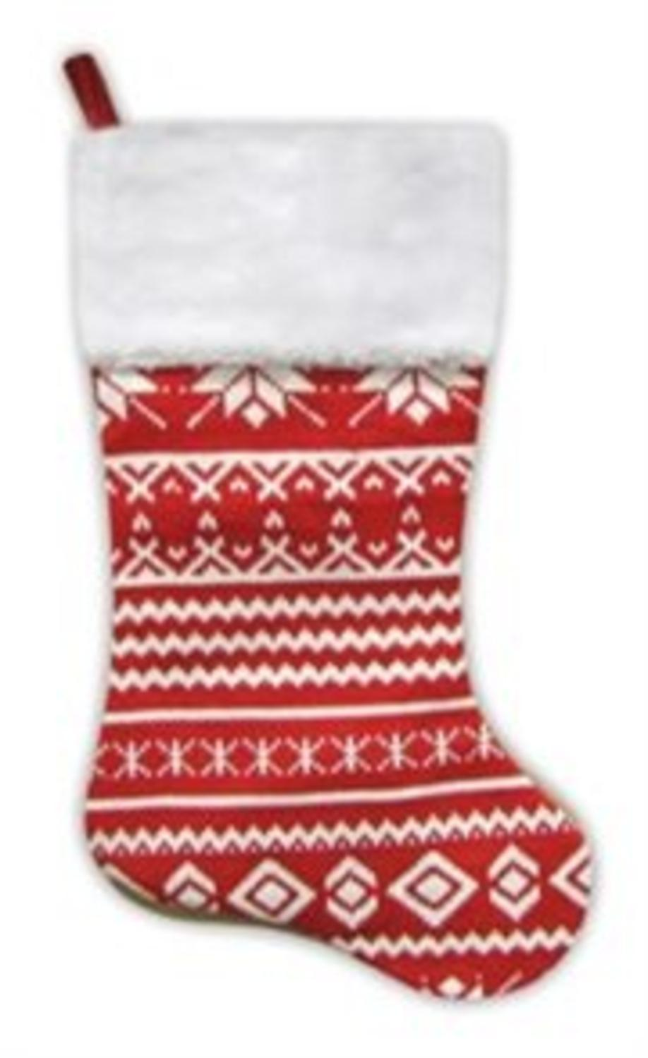 "22"" Festive Red and White Snowflake Motif Sweater Knit christmas Stocking"