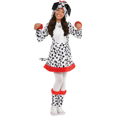 Suit Yourself Dalmatian Halloween Costume for Girls, Includes Hooded Dress and Leg Warmers