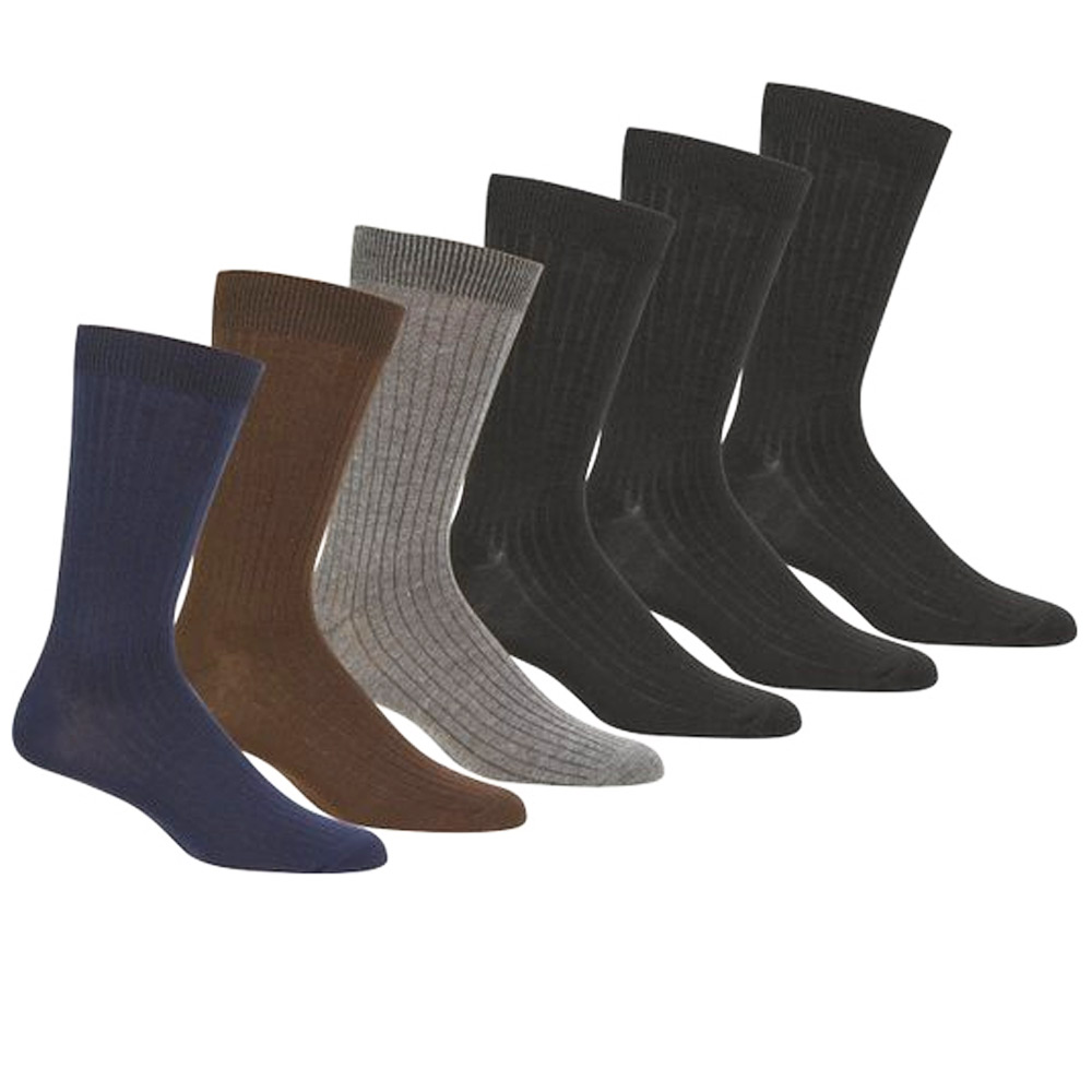 Knocker 6 Pairs Mens Dress Socks Multi Color Casual Work Size 10-13 Fashion Crew