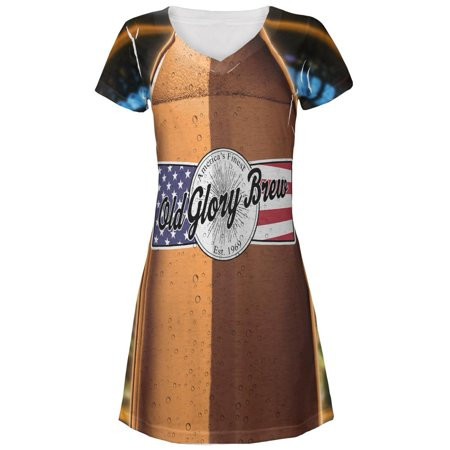Halloween Old Glory Brew Beer Bottle Costume All Over Juniors V-Neck Dress (Ladies Halloween Costumes 30 And Over)