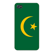 Apple iPhone Custom Case 4 4S White Plastic Snap On - World Country National Flags - Mauritania