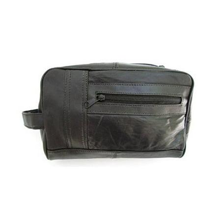 Mens Black Leather Shaving Kit Toiletry Bag Soft Lambskin 15 Mens Leather Bag