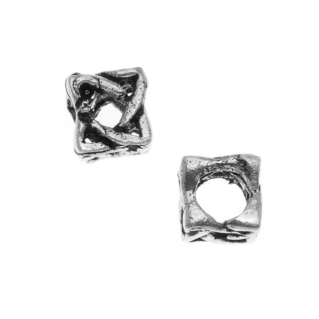 Sterling Silver Celtic Cube Bead - European Style Large Hole - 7.5mm