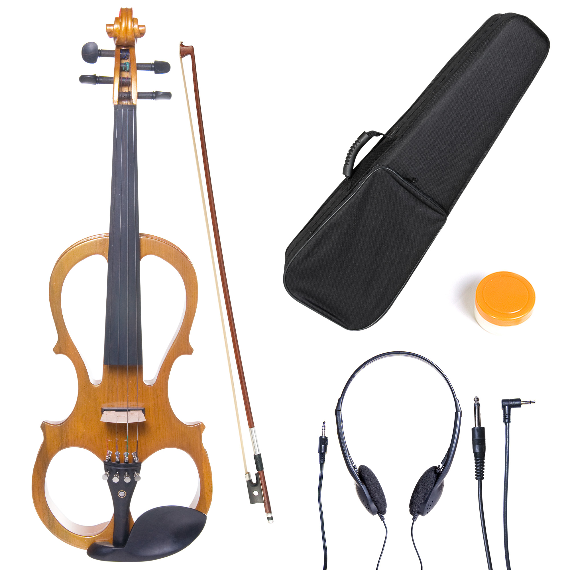 Cecilio Full Size Left-Handed Solid Wood Electric Silent Violin with Ebony Fittings-L4/4CEVN-L1Y Metallic Yellow Maple