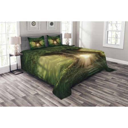 Tree Bedspread Set, Tree of Life Themed Arrangement with Thirving Jungle Spring Season, Decorative Quilted Coverlet Set with Pillow Shams Included, Green Pale Yellow and Brown, by Ambesonne - Jungle Themed Clothing Ideas