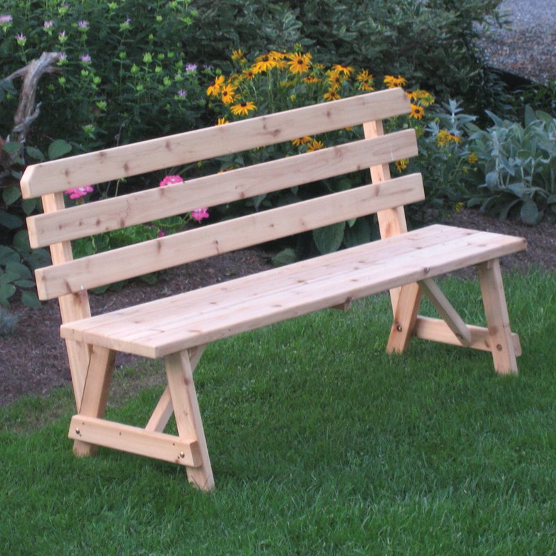 A & L Furniture Western Red Cedar Bench with Back