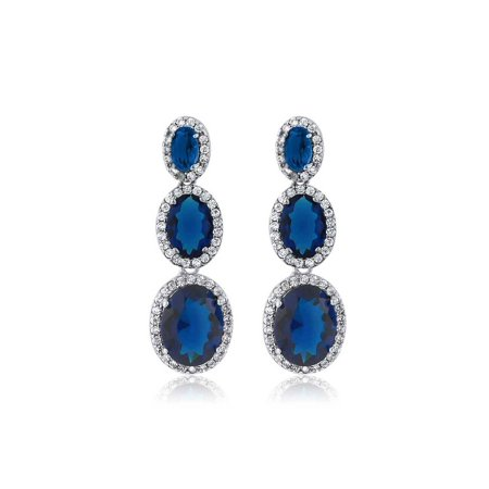 Oval Shape 3-Stone Blue Simulated Sapphire and Zirconia Dangle Chandelier Earrings