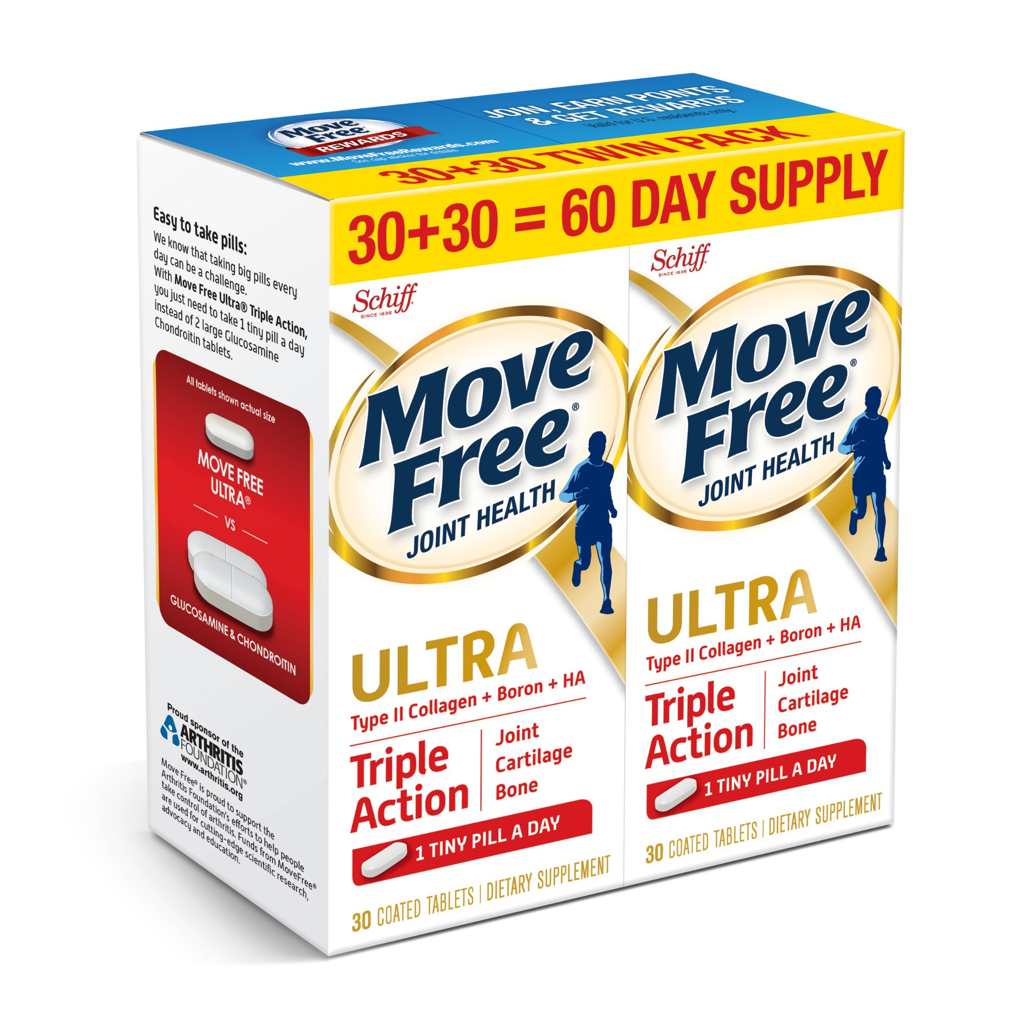 Move Free Ultra Triple Action, 60 count (2x30ct Twin Pack) - Joint Health Supplement with Type II Collagen, Boron and HA, One Tiny Pill