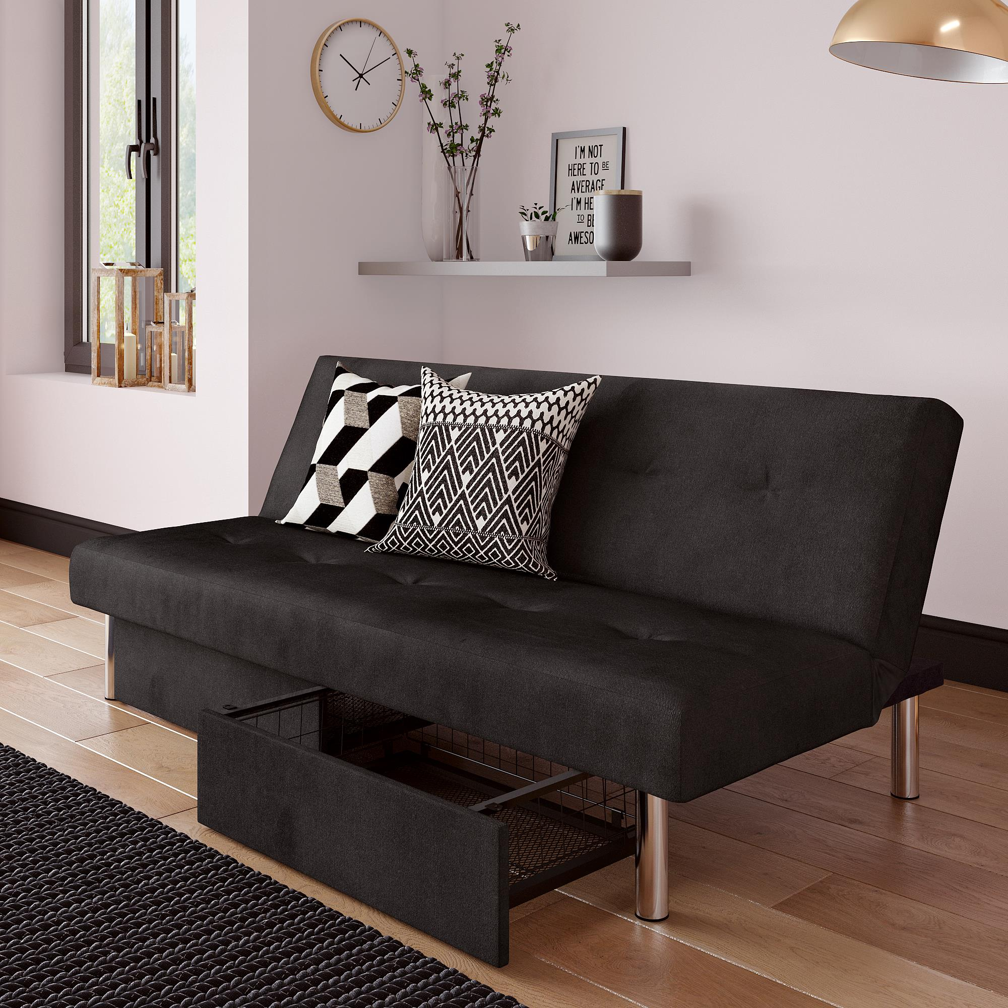 Realrooms Stacey Futon Couch With Storage Drawers Small Spaces