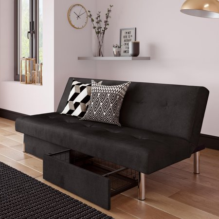 RealRooms Stacey Futon Couch with Storage Drawers, Small Spaces Multiple  Colors