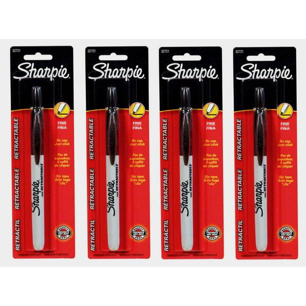 4~Sharpie RETRACTABLE Black Fine Tip PERMANENT MARKER No
