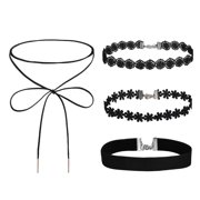 BodyJ4You 4PC Choker Necklace Set Women Girls Black Velvet Bow Lace Rope Fashion Jewelry