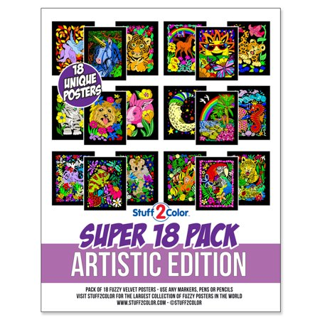 Super Pack of 18 Fuzzy Velvet Coloring Posters (Artistic Edition ...