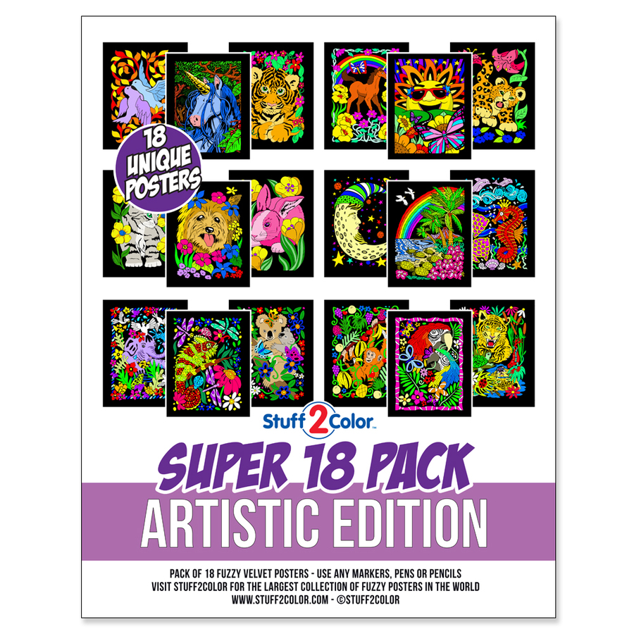 Super Pack of 18 Fuzzy Velvet Coloring Posters (Artistic Edition) - Stuff2Color