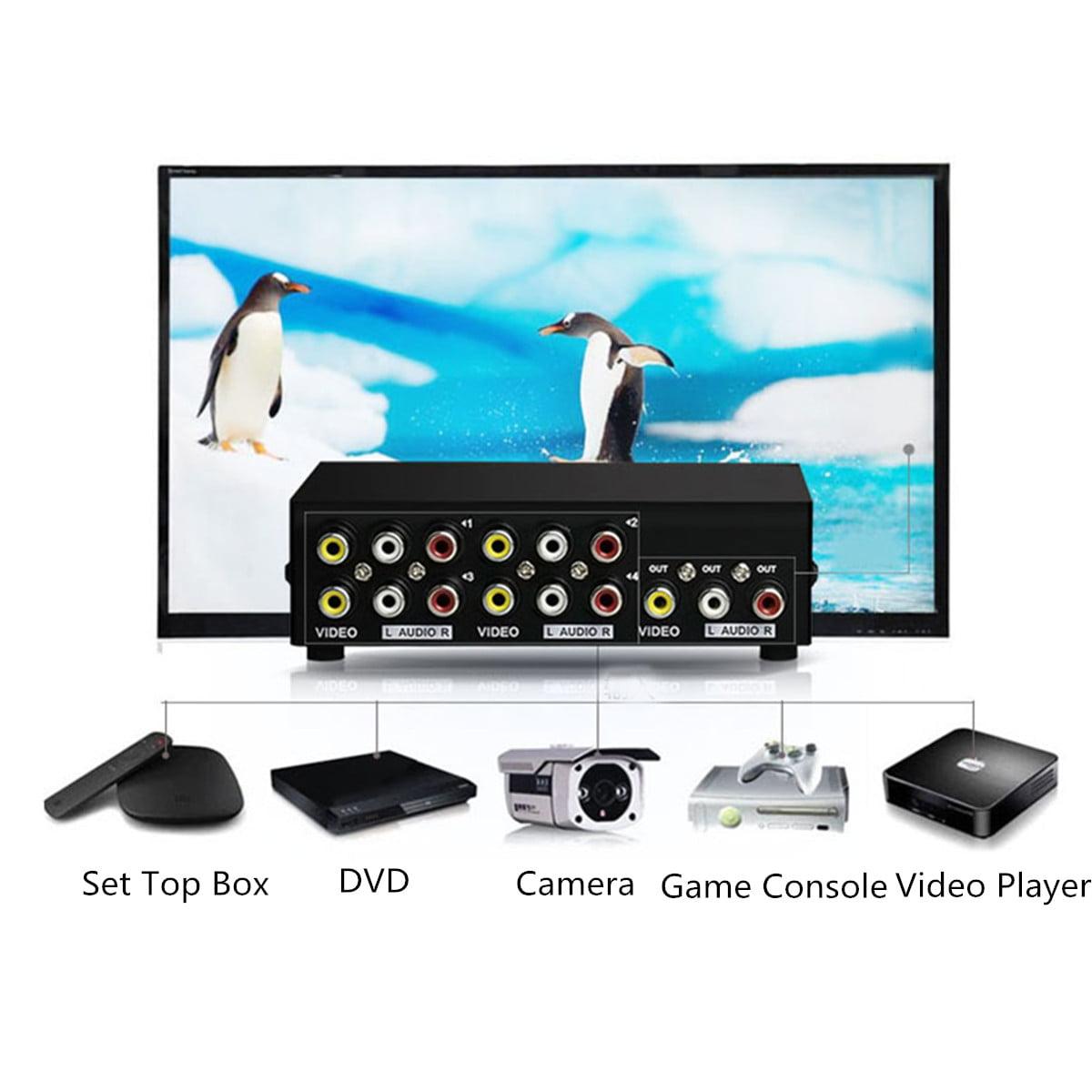 4 in 1 out AV Video+Audio Switcher Splitter Switch Box RCA Selector ...