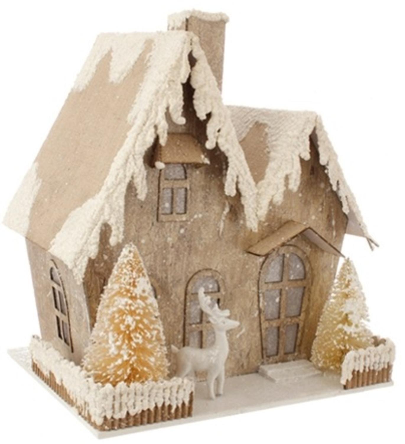 "8.75"" Country Cabin Lighted Snowy Glittered Cottage Christmas Decoration"