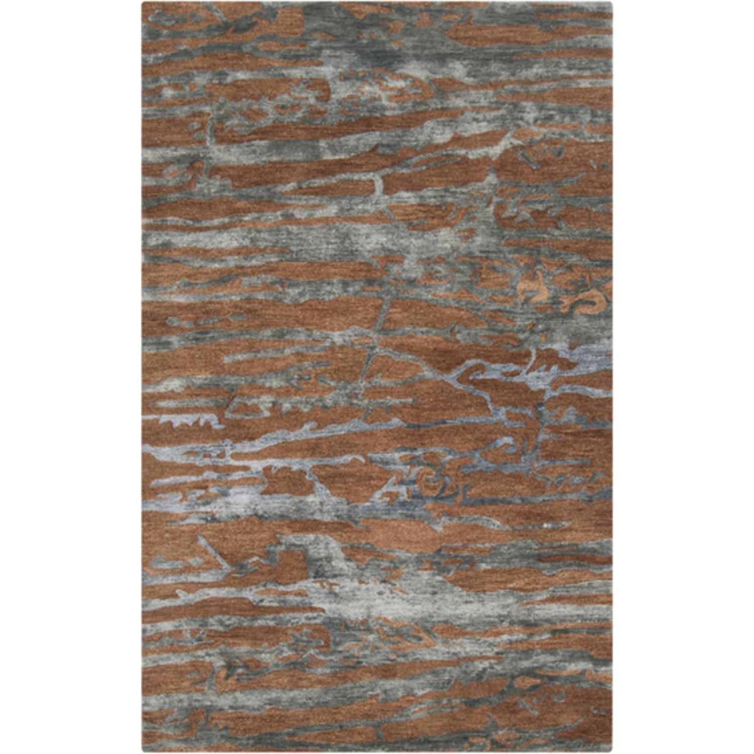 2' x 3' Grotto Mountain Rock Sepia and Slate Blue Wool Area Throw Rug