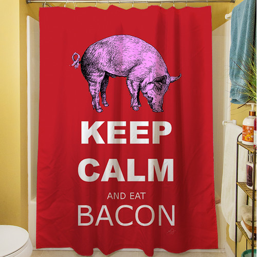 Manual Woodworkers U0026 Weavers Keep Calm And Eat Bacon Shower Curtain